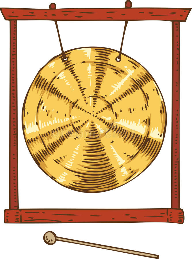 Golden Gong Hanging in a Frame. Musical Instrument. Golden Gong Hanging in a Frame and Hammer. Isolated on a White stock illustration