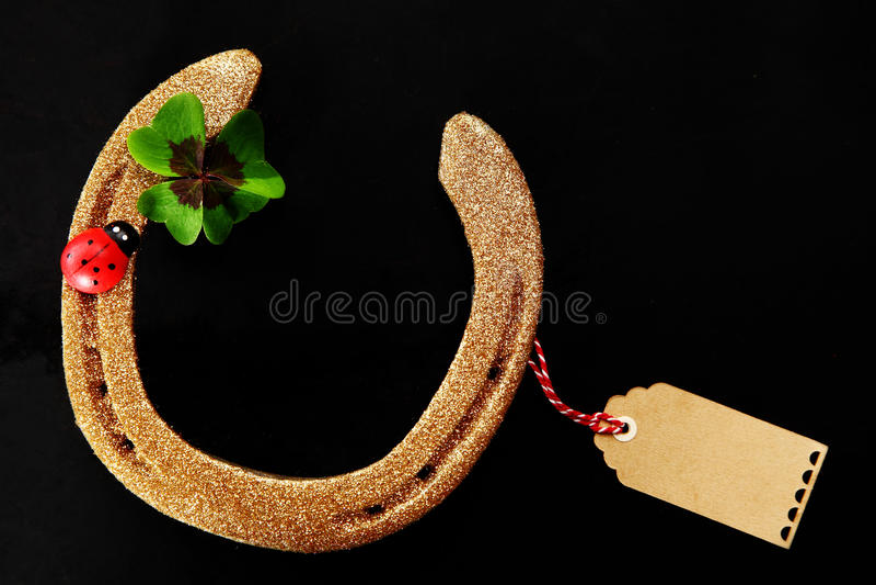 Golden Good Luck Horseshoe stock images