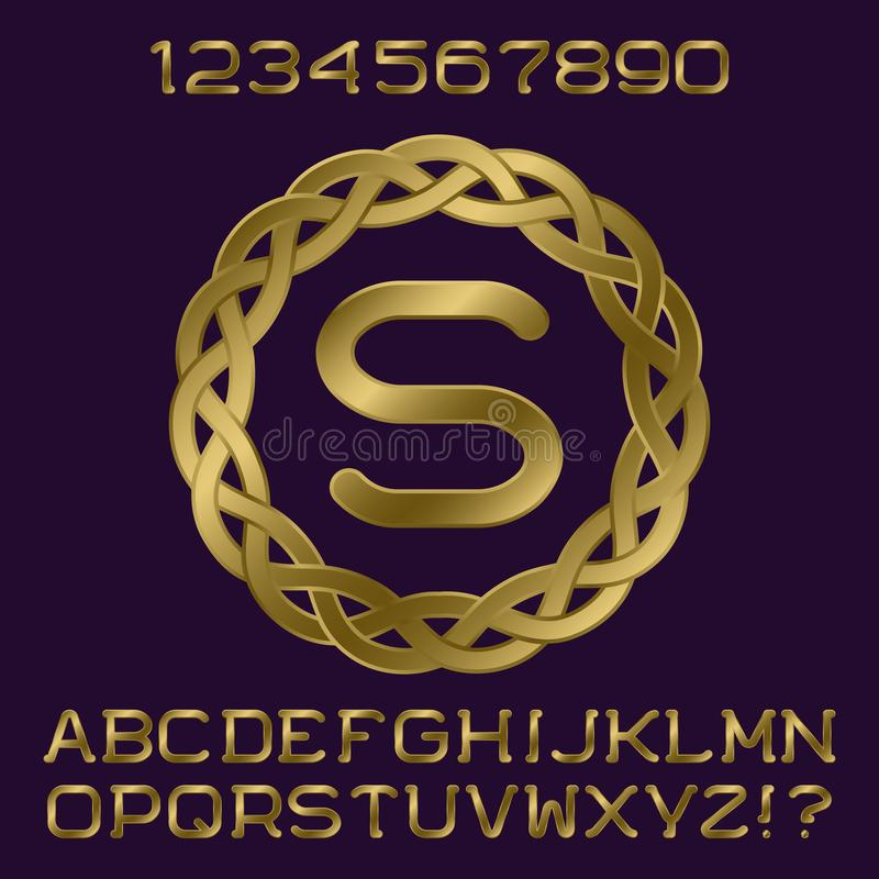 Golden Gradient Letters And Numbers With Initial Monogram In ...
