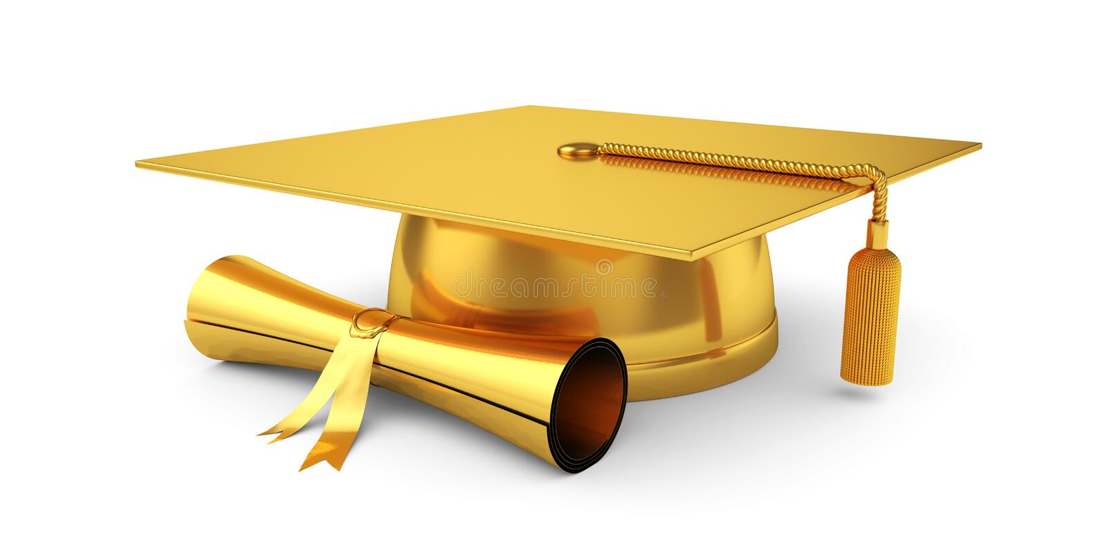 Golden graduation cap with diploma royalty free stock images