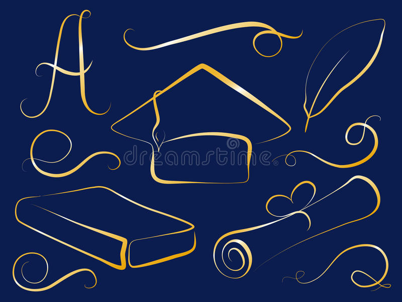 Golden graduation cap and education element. Graduation day clipart. royalty free illustration