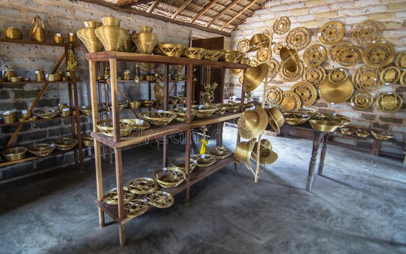 The golden grass capim dourado objects, made by locals in the town of Mumbuca, Jalapao Brazil. The golden grass Capim dourado objects , made by locals in the royalty free stock photos