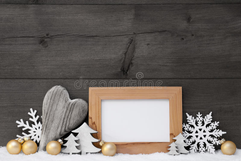 Golden Gray Christmas Decoration, Snow, Copy Space royalty free stock photo