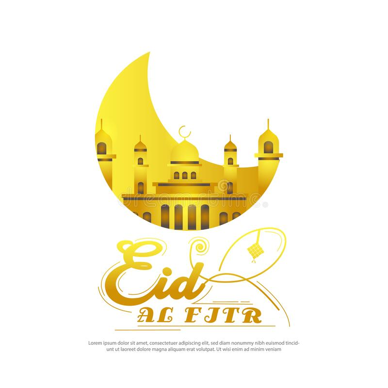 Free Golden Greeting Card Eid Al Fitr Design Vector Royalty Free Stock Photography - 183314027