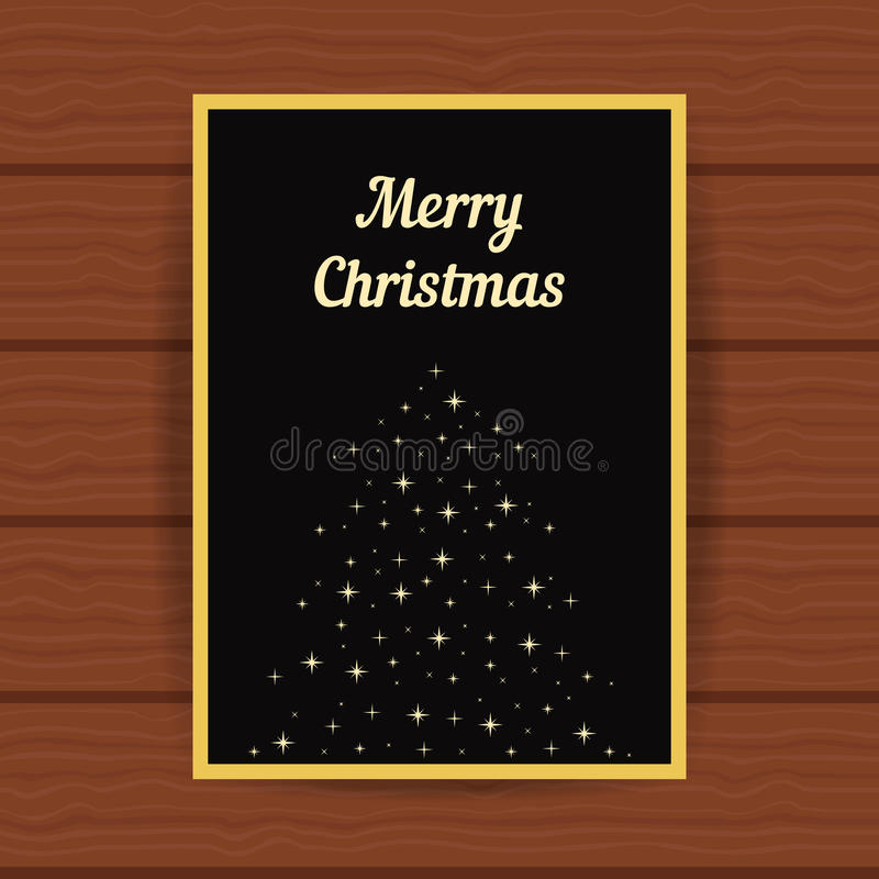 Golden greeting card with fir tree from sparks stock illustration