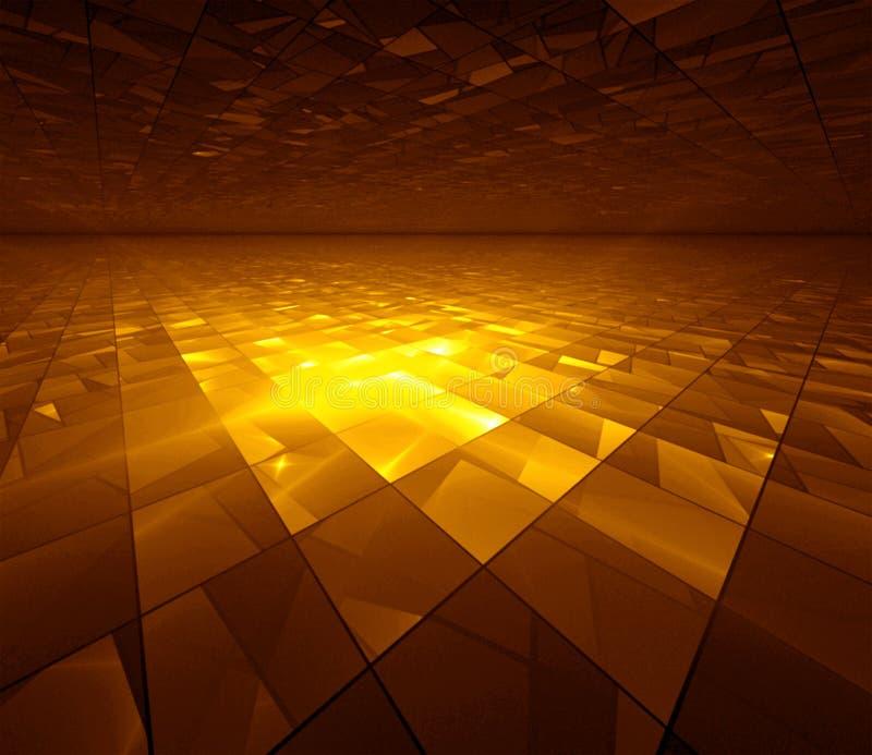Golden Grid - fractal illustration stock illustration
