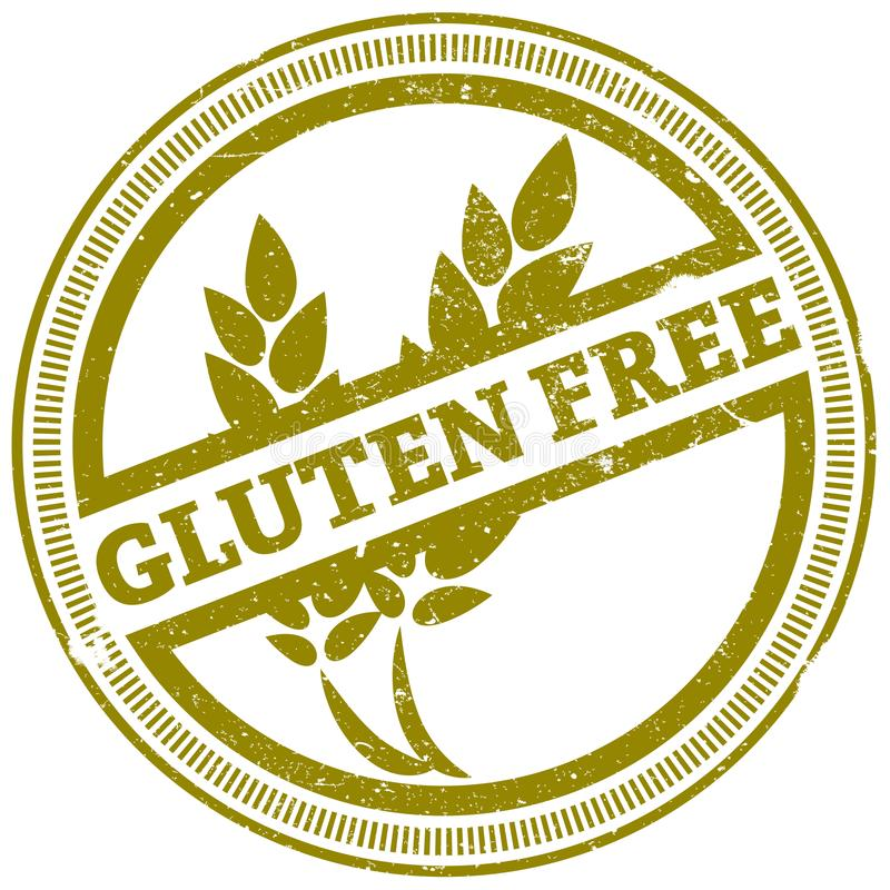 Golden grunge gluten free rubber stamp royalty free illustration
