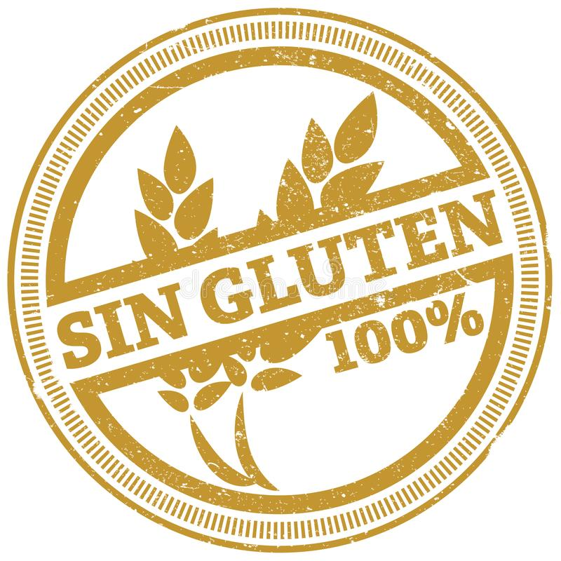 Golden grunge 100% gluten free rubber stamp with Spanish words SIN GLUTEN vector illustration