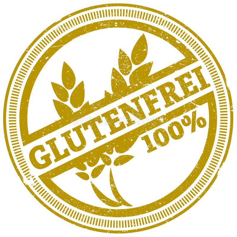 Golden grunge gluten free stamp with German word GLUTENFREI vector illustration
