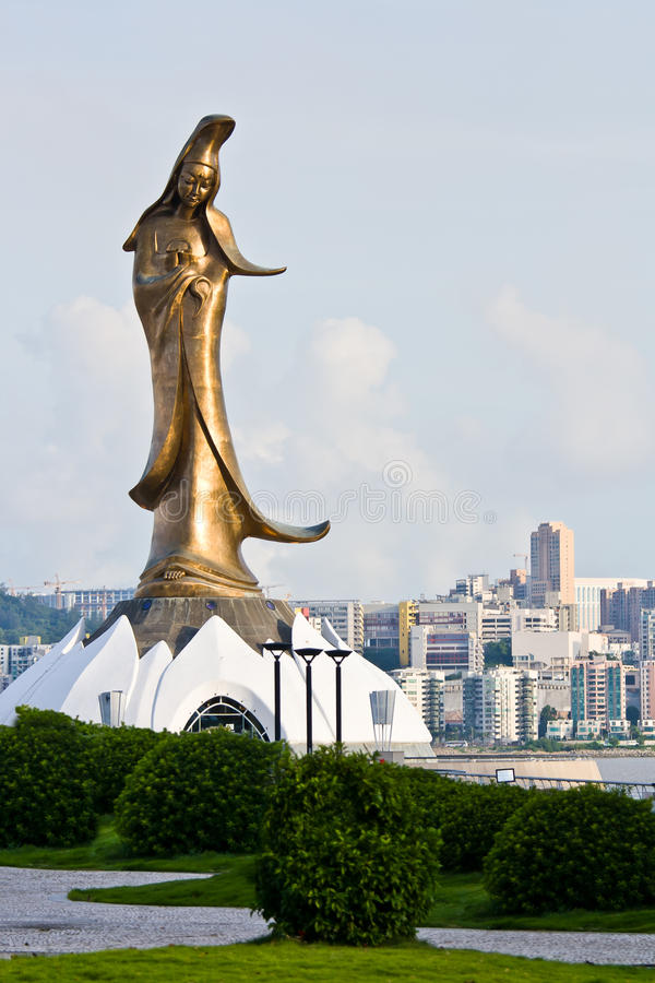 Download Golden Guan Yin statue stock image. Image of macao, scene - 23478799
