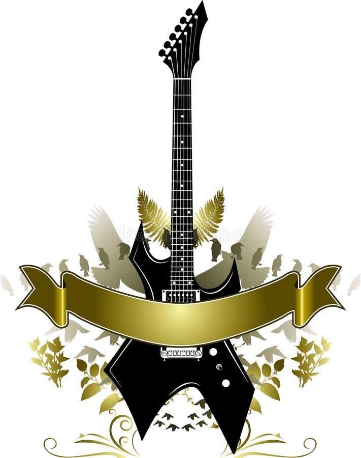 Download Golden Guitar Banner stock vector. Image of black, vector - 6572373