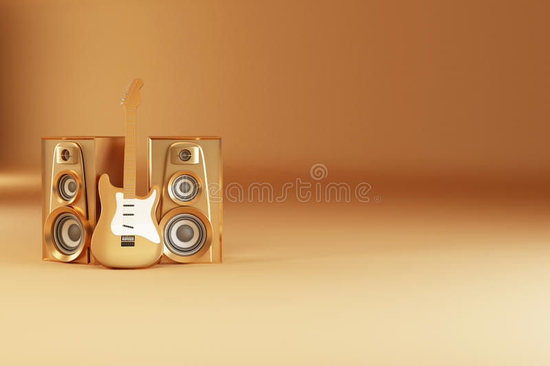 Download Golden Guitar And Louspeakers On Yellow Background Stock Illustration - Image: 16320424