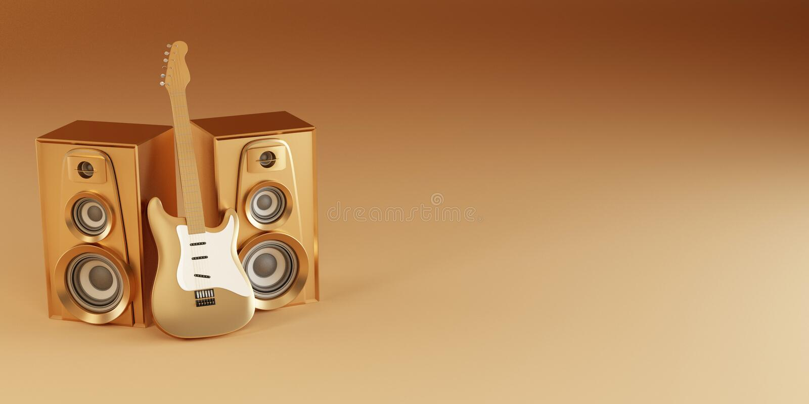 Download Golden Guitar And Louspeakers On Yellow Background Stock Illustration - Image: 16705622