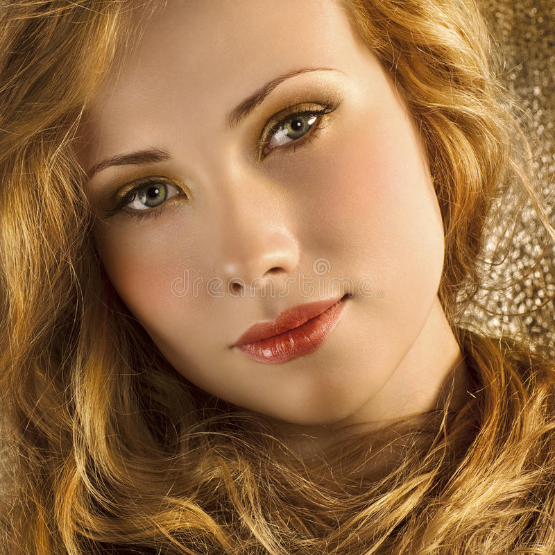 Golden hair royalty free stock photography