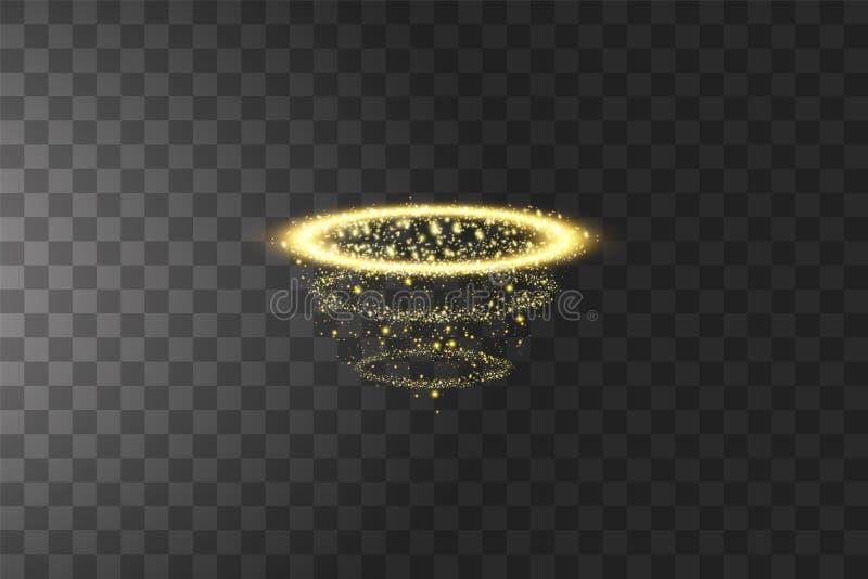 Golden halo angel ring. Isolated on black transparent background, vector illustration.  royalty free illustration
