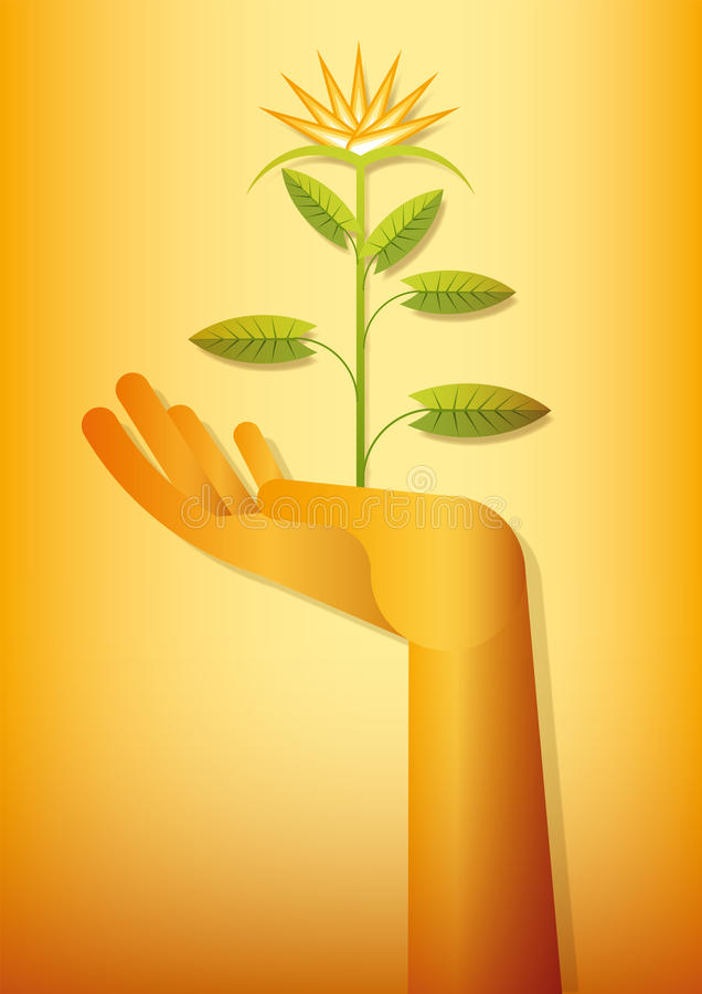 Golden hand blooming royalty free stock images