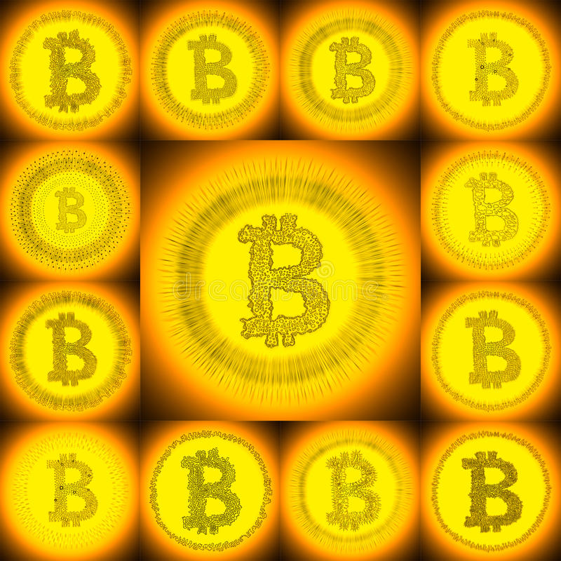 Golden hand-drawn Bitcoin symbol collage stock photos