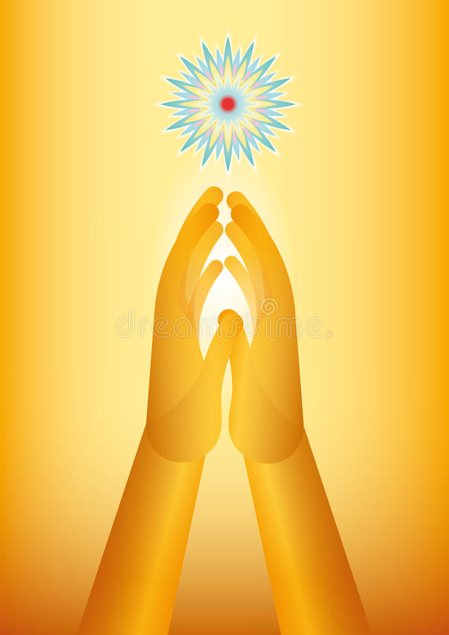 Golden hand praying stock images