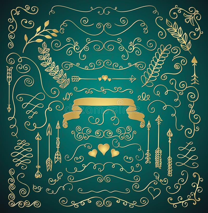 Download Golden Hand Sketched Rustic Floral Design Elements Stock Vector