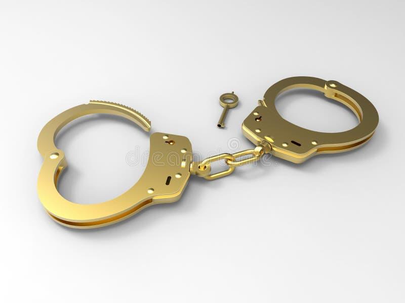 Golden handcuffs illustration vector illustration