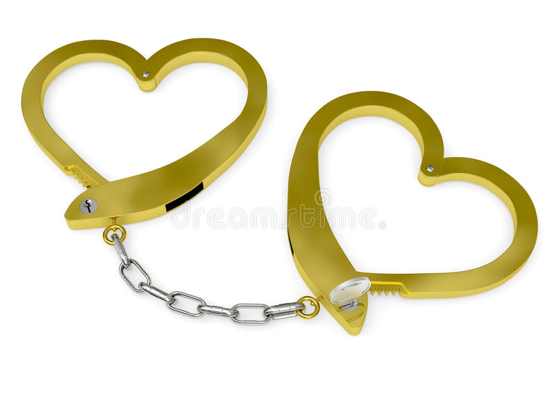 Golden handcuffs of love with key vector illustration