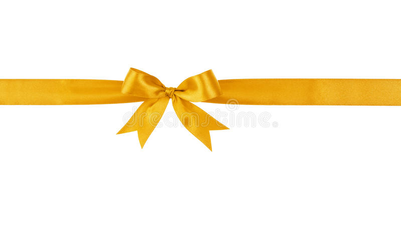 Golden handmade ribbon with bow. Isolated on white royalty free stock photo