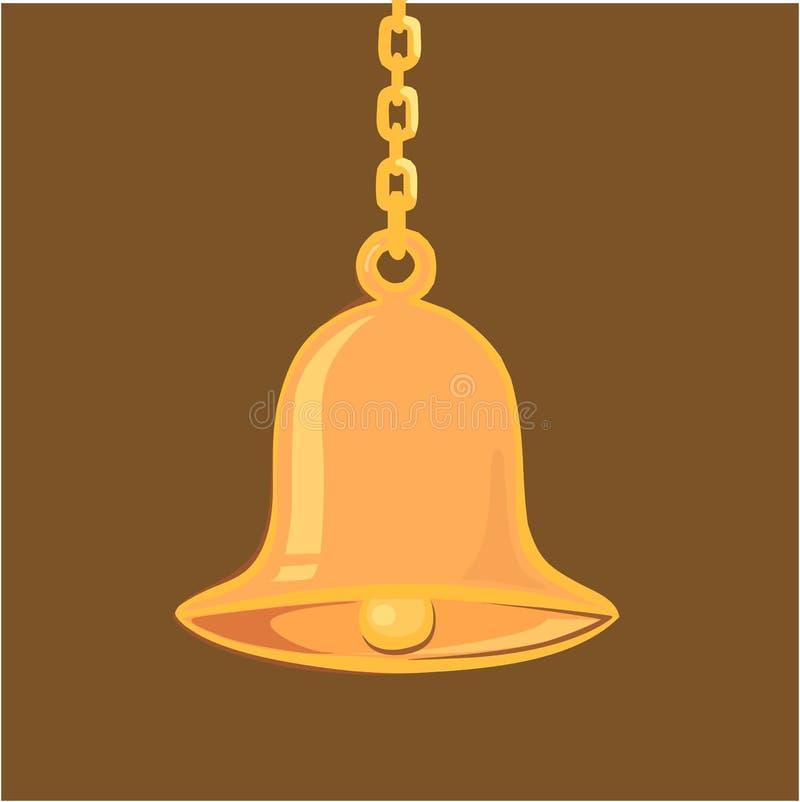 Download Golden hanging bell stock vector. Image of prayer, bronze - 3493987