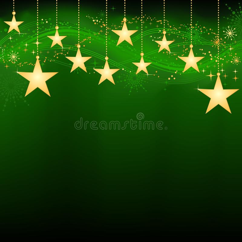 Golden hanging stars on dark green background royalty free illustration