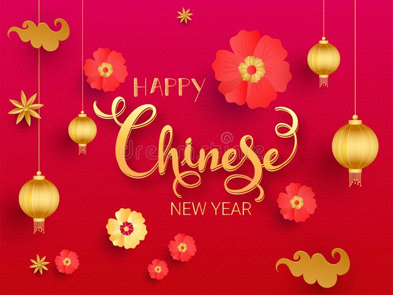 Golden Happy Chinese New Year Text Decorated with Flowers, Clouds, Stars and hanging Lanterns on Red and Pink Squama Pattern royalty free illustration