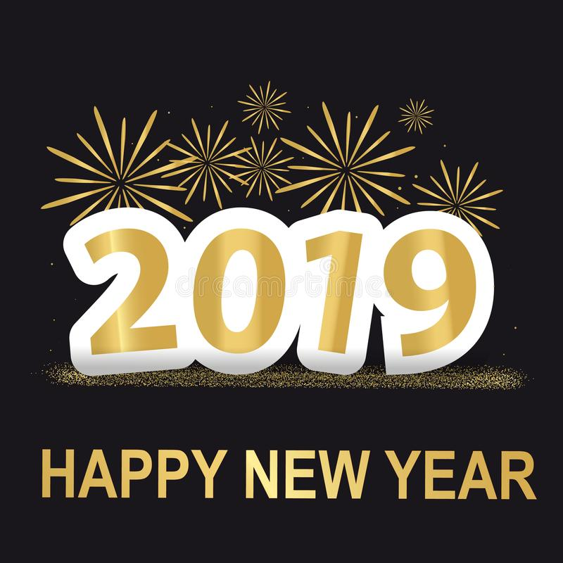 Golden Happy New Year 2019 Background With Fireworks And Glitter - Vector Illustration - Isolated On Black Background vector illustration