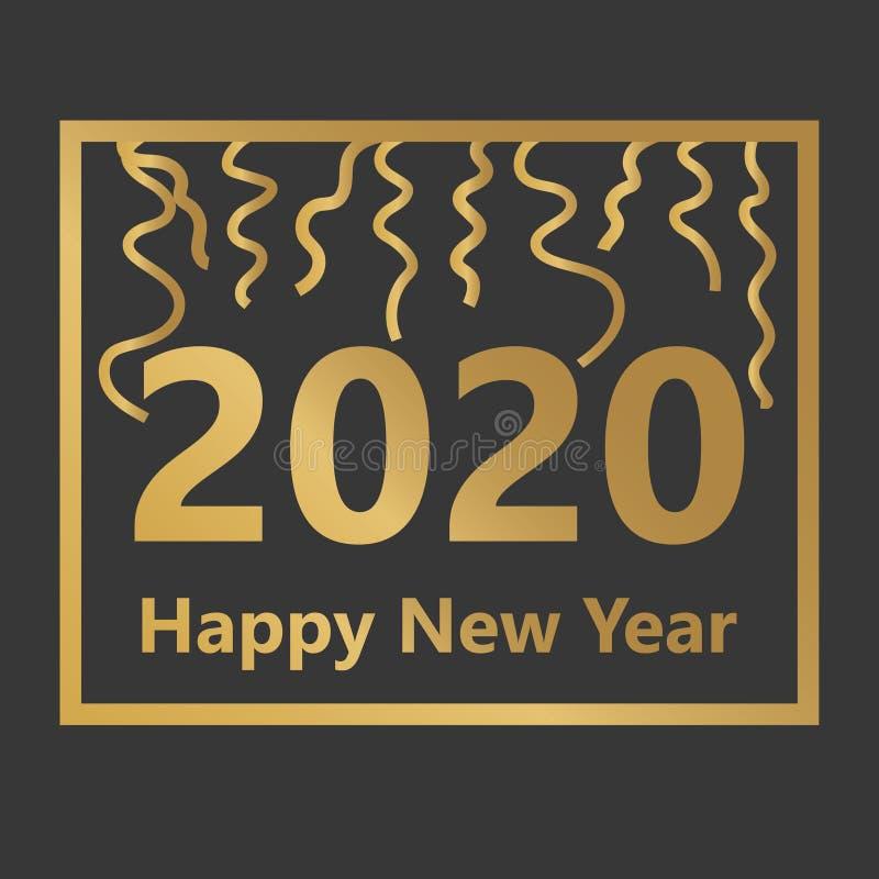 Golden happy new 2020 year concept. Vector illustration stock illustration
