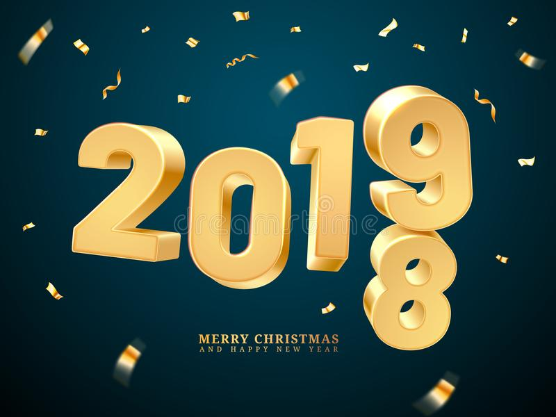 Golden 2019-2018 happy new year and merry christmas stock illustration
