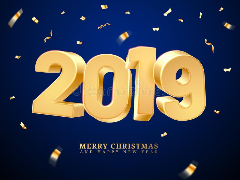 Golden 2019 happy new year and merry christmas stock illustration