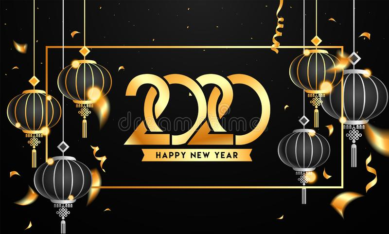 Golden Happy New Year 2020 Text with Hanging Chinese Lanterns and Confetti Ribbon royalty free illustration