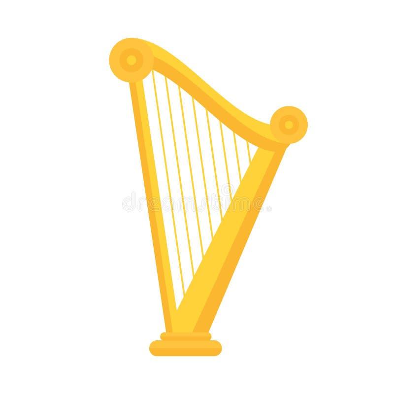Golden Harp Icon In Flat Style Design Musical Instrument Symbol