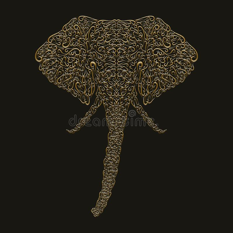 The golden head of an elephant, painted with lines with curls.  royalty free stock photos