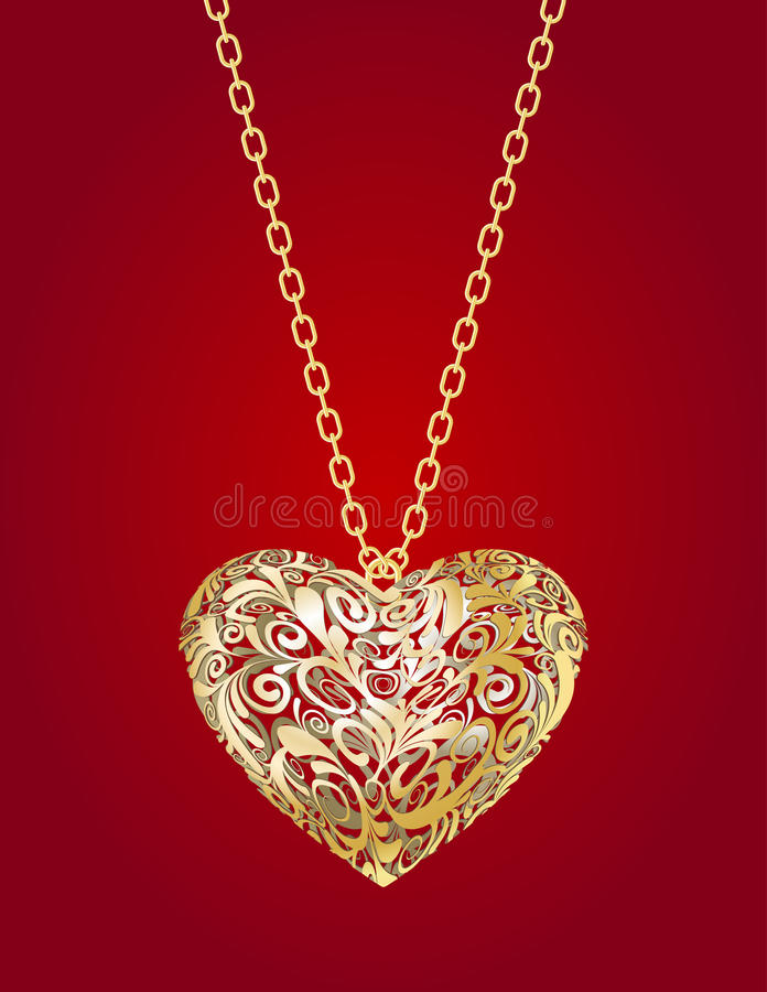 Download Golden heart stock vector. Image of celebration, accessory - 28912726