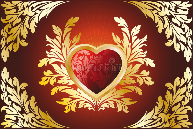 Golden Heart. Abstract Stylized Gold Valentines Day Heart with florals royalty free illustration