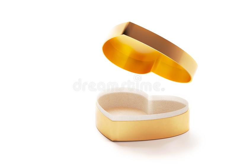 Golden heart box for Valentines day or special day in love concept. Open empty gold gift box with a heart shape isolated royalty free stock photography