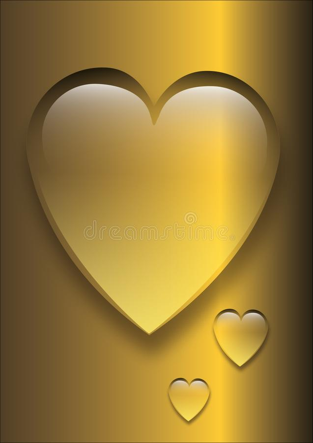 Golden heart in the form of a drop of water. stock illustration