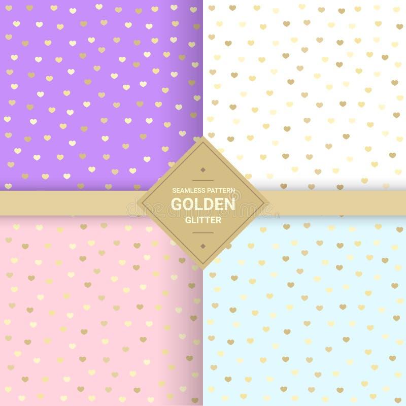 Golden heart glitter seamless pattern on pastel background. Hear stock illustration