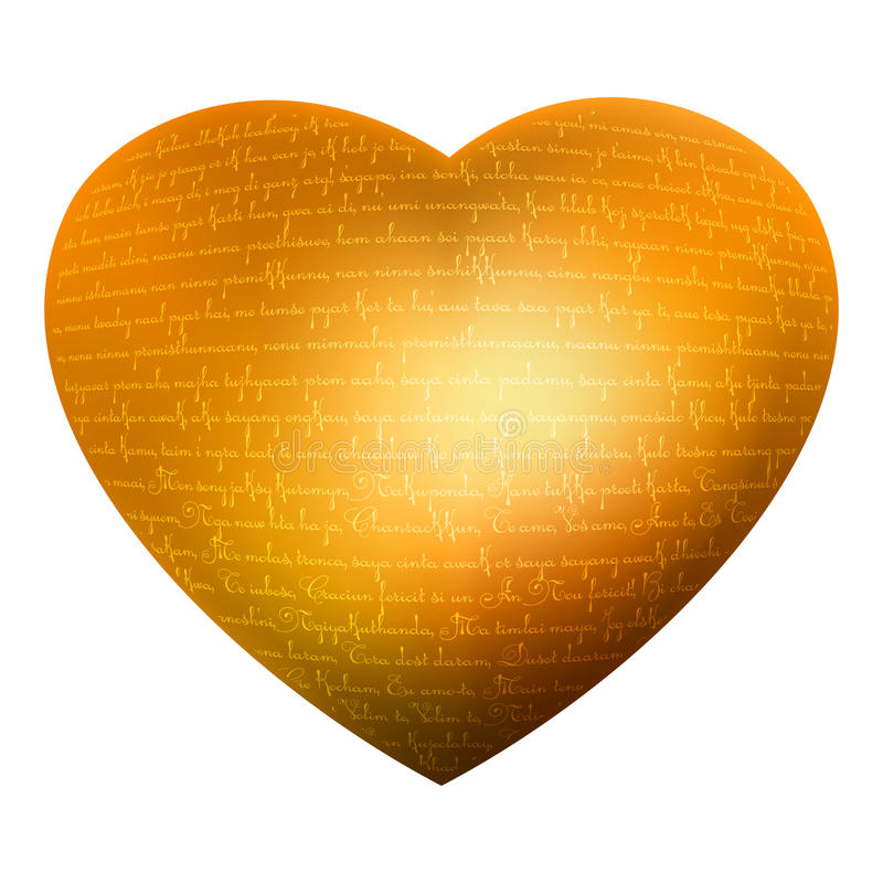Golden heart, glow letters, text - love you. EPS 8 stock illustration