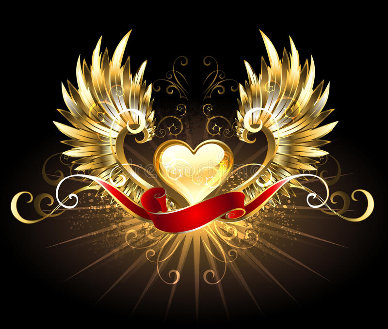 Golden heart with golden wings. Decorated with a red silk ribbon on a black background stock illustration