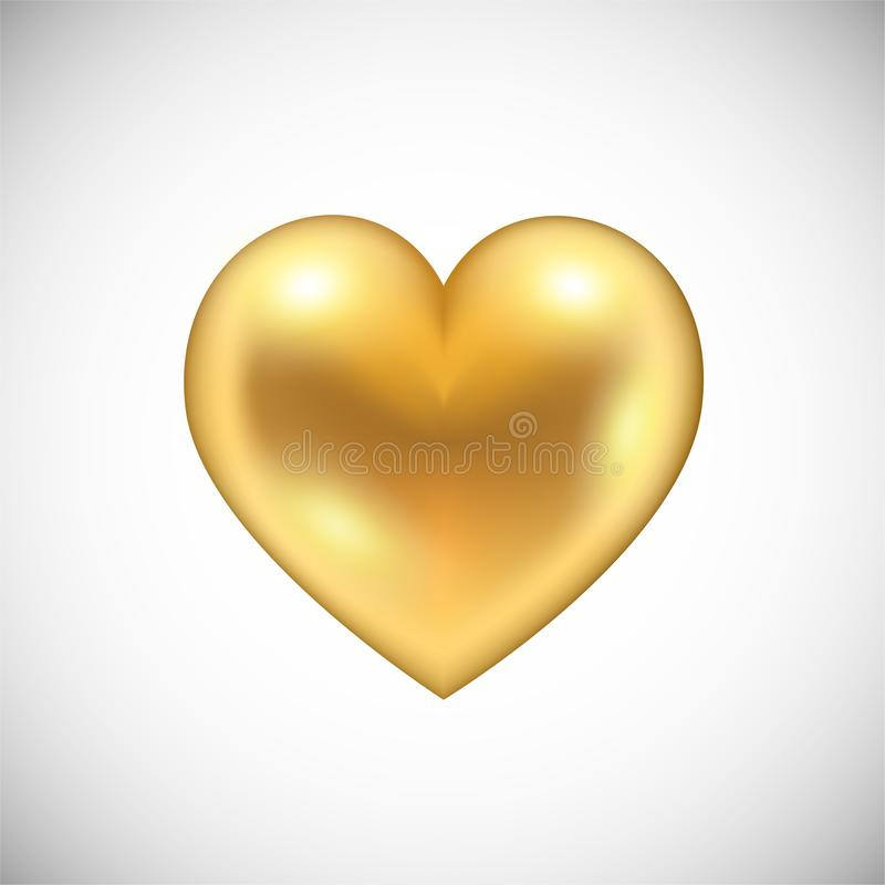 Golden Heart icon  on white royalty free illustration