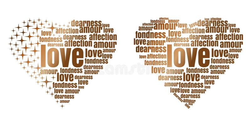 Golden heart made up of words and stars royalty free illustration