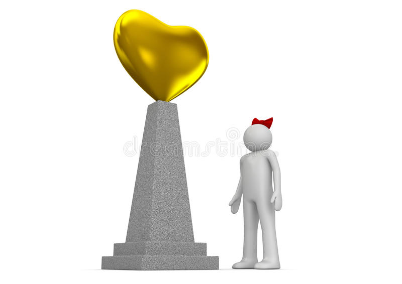 Golden heart monument royalty free stock photo