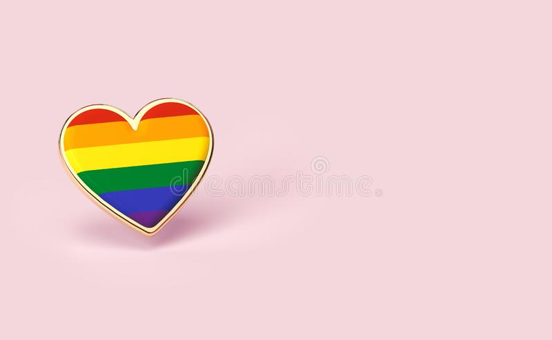 Golden heart pin with rainbow inside. Right to love for everyone concept. Isolated on pastel pink background with copy space. 3D. Render royalty free illustration