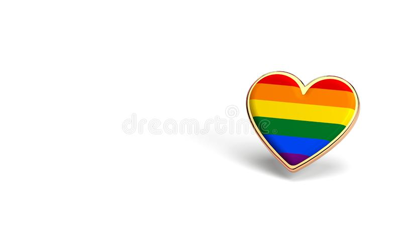 Golden heart with rainbow inside. Right to love for everyone concept. Isolated on white background with copy space. 3D rendering. Golden heart with rainbow stock illustration