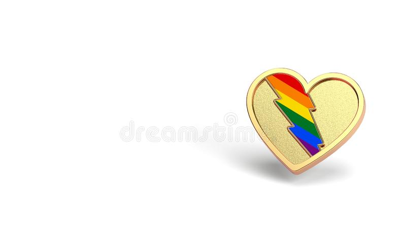Golden heart with rainbow lightning inside. LGBT love and fight for their rights symbol concept. Isolated on white background with stock illustration
