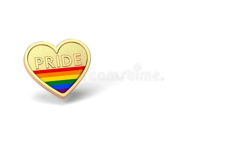 Golden heart with rainbow and word PRIDE inside. Month of pride concept. Isolated on white background with copy space. 3D vector illustration